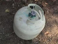 Propane tank used to store anhydrous ammonia